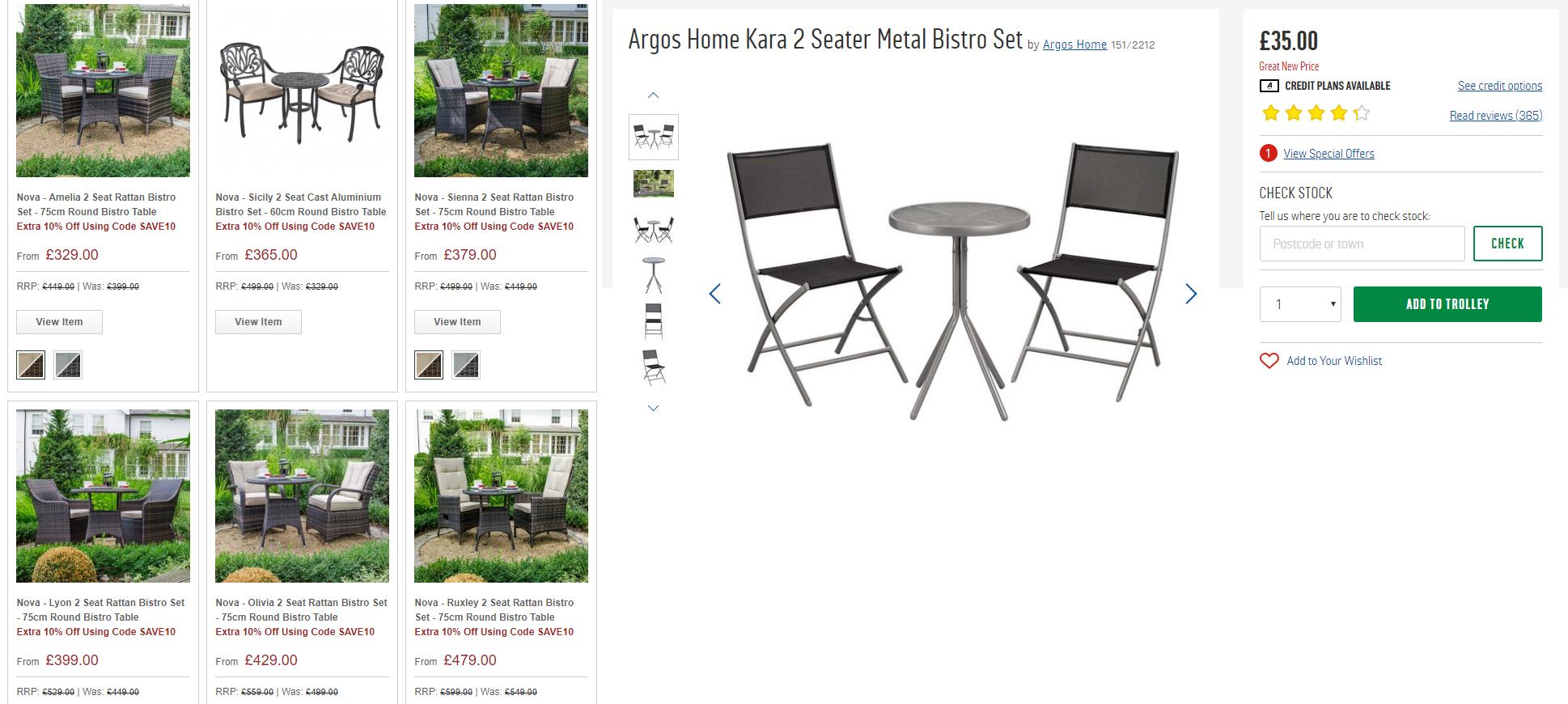 White Stores Garden Furniture Vs Argos Garden Furniture