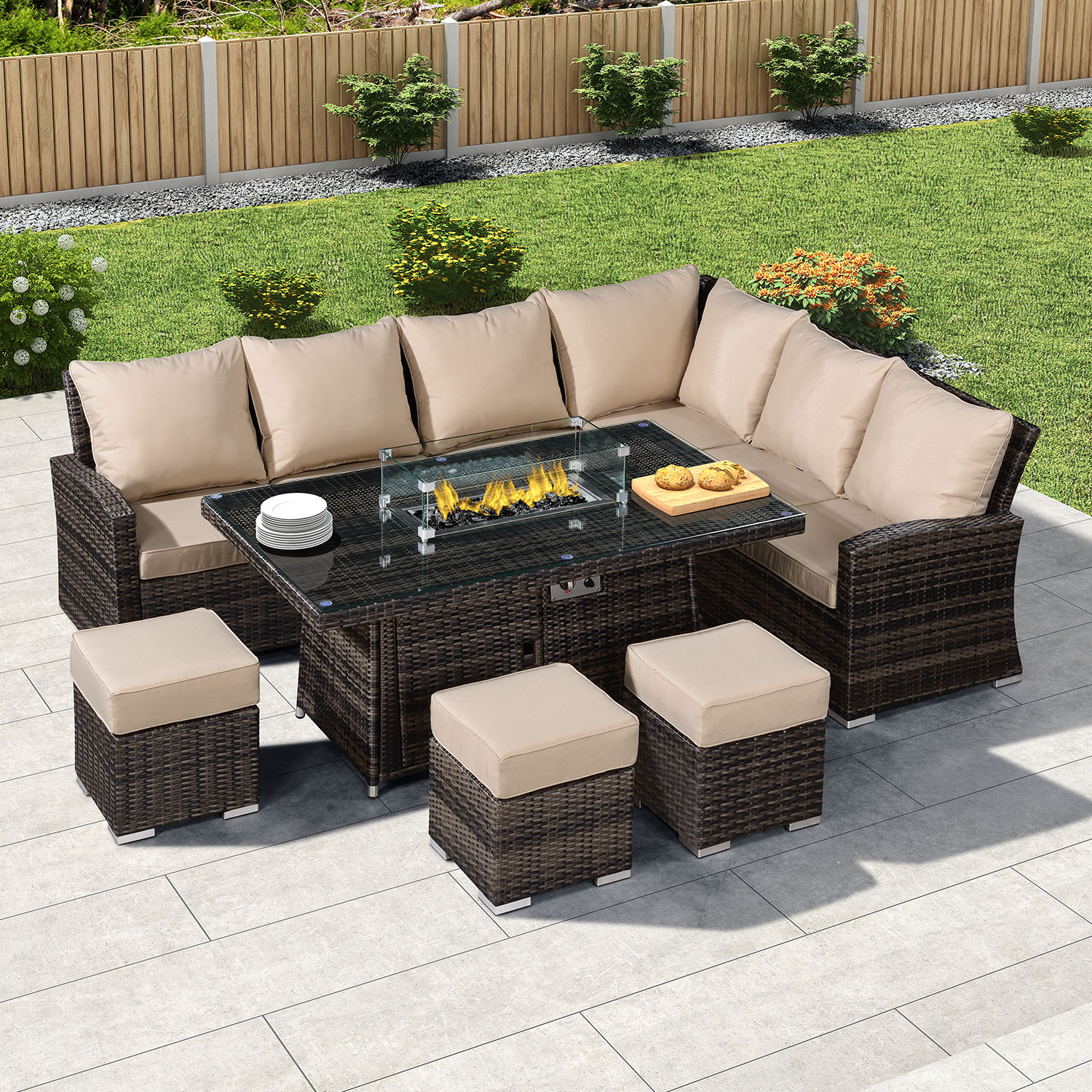 Fire Pit Rattan Garden Furniture
