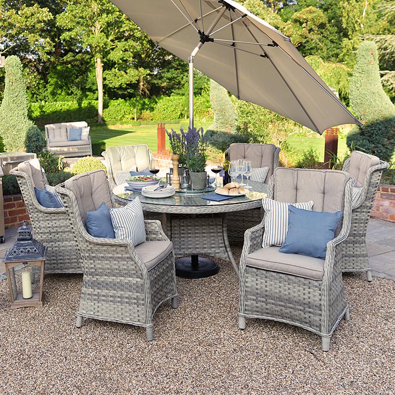 Nova Rattan Garden Furniture Oyster 6 Seat 1.4m Round ...