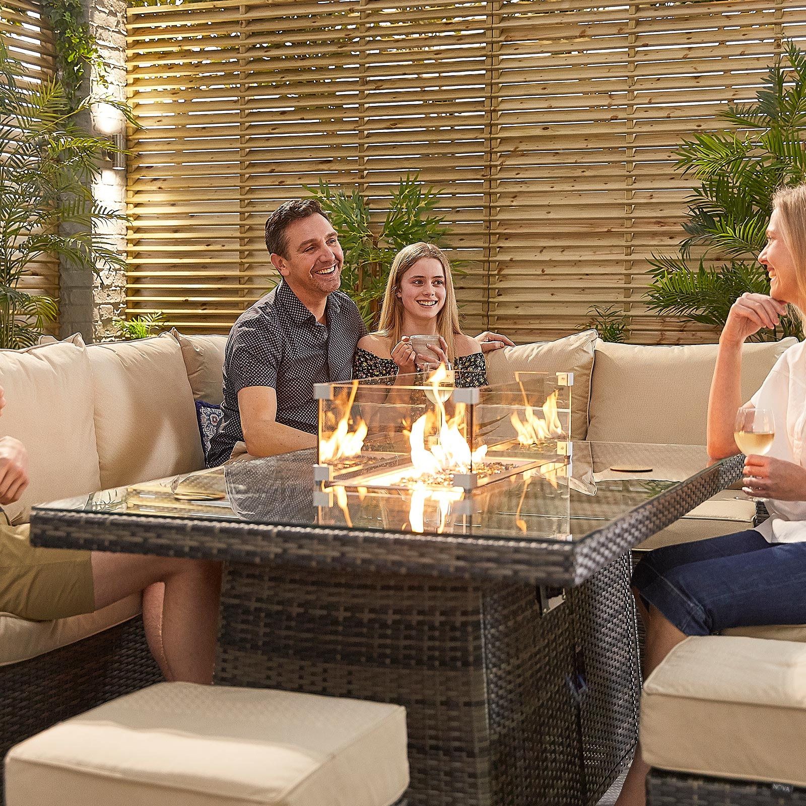 Gas Firepit Casual Dining Table