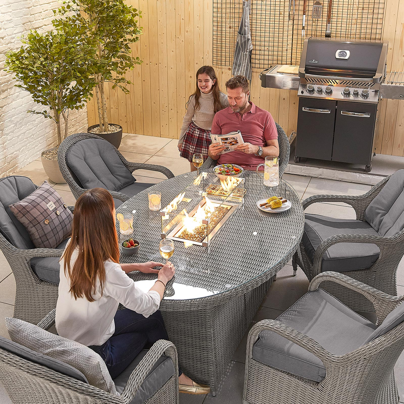 Gas Firepit Dining Table