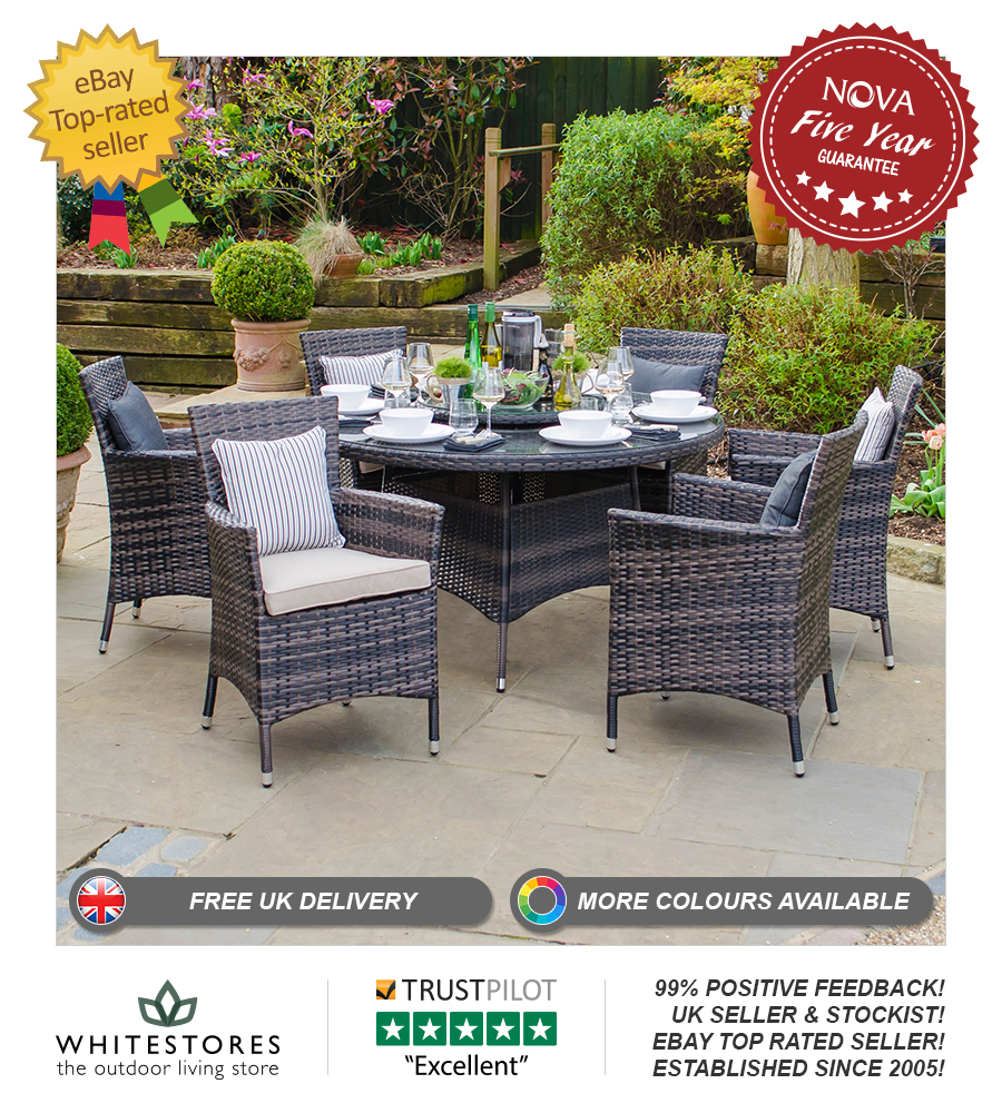 Nova Amelia 6 Seat Outdoor Garden Furniture 13m Round Rattan Patio