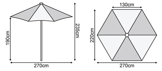 Antigua 2.7m Round Aluminium Parasol Dimensions